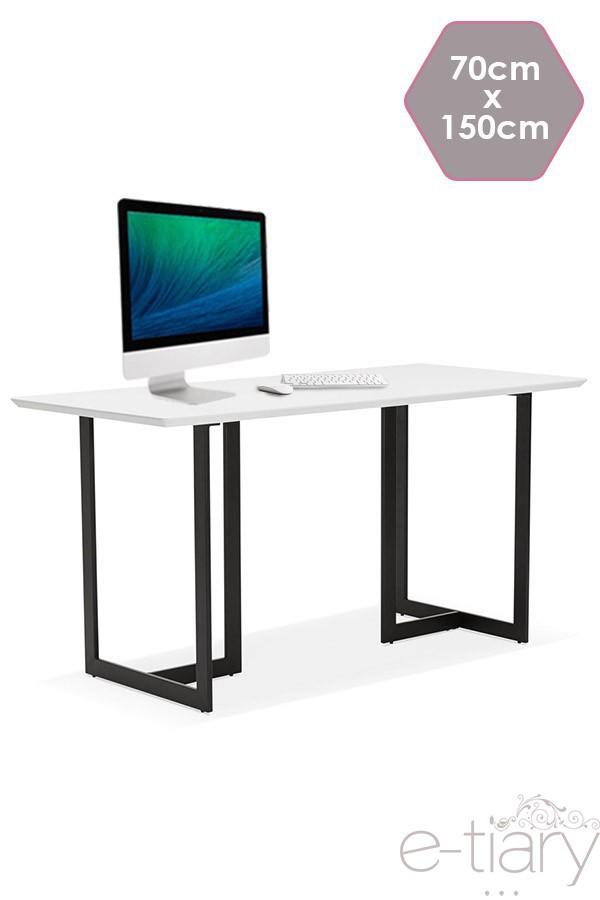 Table Bureau Birao Blanc 70x150x76 5cm Structure Metal