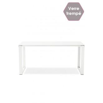 Bureau design MILAY Verre Trempé Blanc