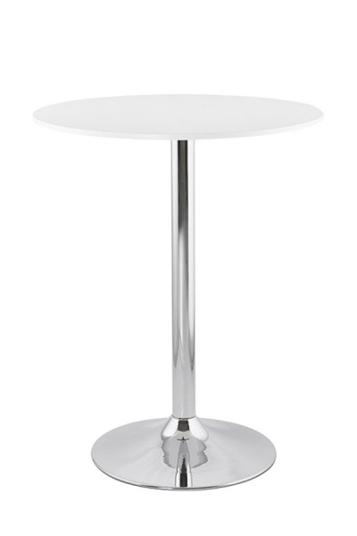 Table Haute Ronde Design O90cm Irana Blanc Pied Chrome Central 110cm