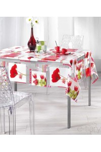 Nappe - Cristal transparent rectangle - 140 x 240 cm -passion pavot rouge