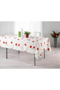 Nappe anti-tache - Rectangle - 150 x 240 cm - Amapola - Pavot - Blanc