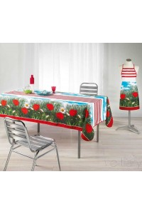 Nappe anti-tache rectangle 150x240 cm stripe poppy pavot rouge