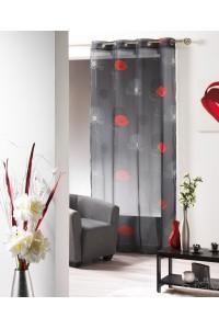 MODIFPanneau rideau voile oeillet 140x240cm poppy pavot noir