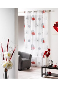 MODIFPanneau rideau voile oeillet 140x240cm poppy pavot blanc