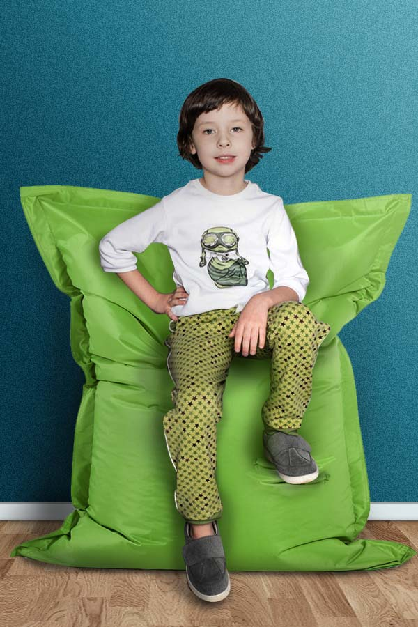 Pouf XL BOTA confortable - Vert clair/vert foncé