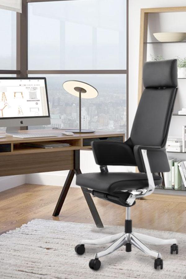 Chaise ergonomique design MATEZA ajustable - cuir noir