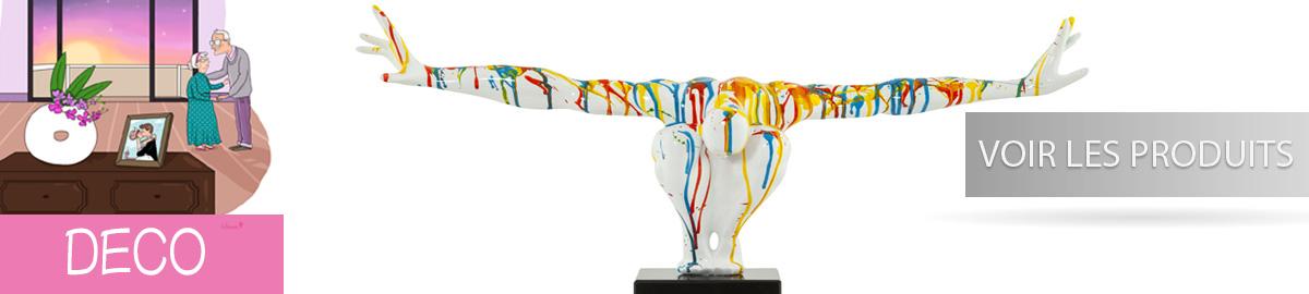 Des stickers au goût du jour ainsi que des statues contemporain et en vogue , vase et tableau de qualité sont tous à votre disposition sur e-tiary.com